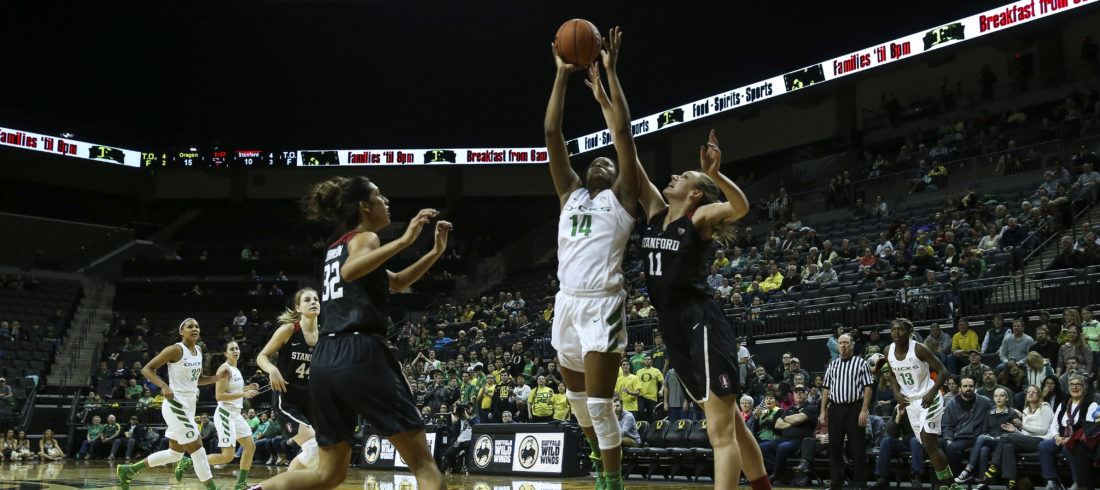 The Oregon Ducks take on the Stanford Cardinal at Matthew Knight Arena in Eugene, Oregon on January 15, 2016 (Eric Evans Photography)